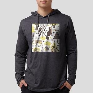 Woodland Animals Mens Hooded Shirt