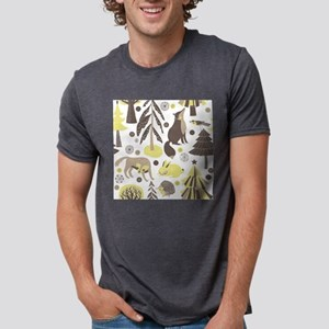 Woodland Animals Mens Tri-blend T-Shirt