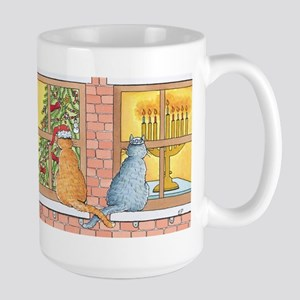 Chrismukkah Curious Cats Large Mug