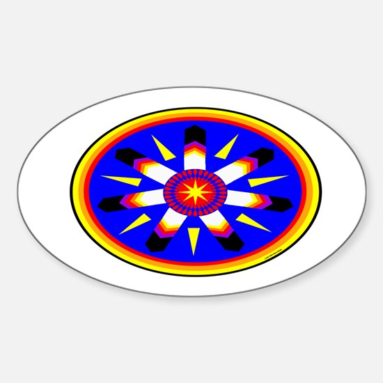 EAGLE FEATHER MEDALLION Sticker (Oval)