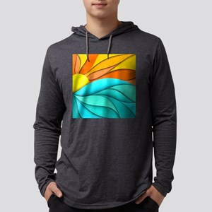 Abstract Ocean Sunset Mens Hooded Shirt