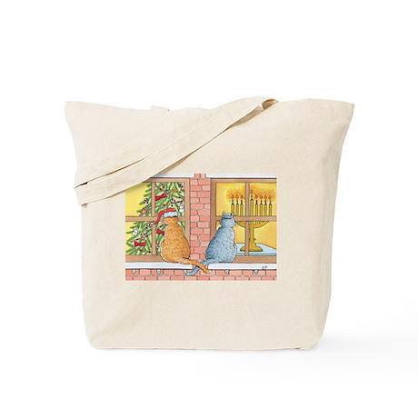 Chrismukkah Curious Cats Tote Bag