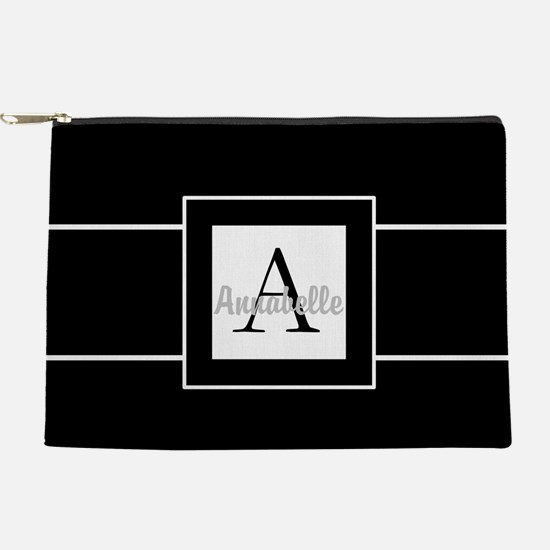 Black White Monogram Personalized Makeup Pouch