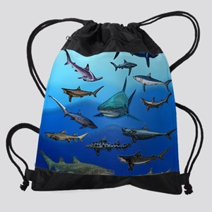 Shark Gathering Drawstring Bag