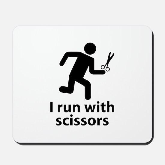 I run with scissors Mousepad