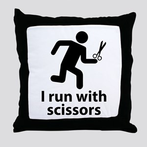 I run with scissors Throw Pillow