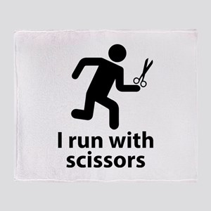 I run with scissors Throw Blanket