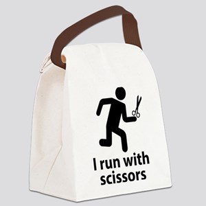 I run with scissors Canvas Lunch Bag