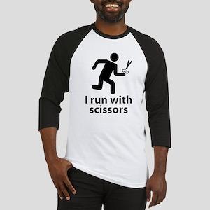 I run with scissors Baseball Jersey
