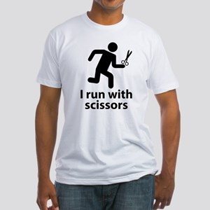 I run with scissors Fitted T-Shirt