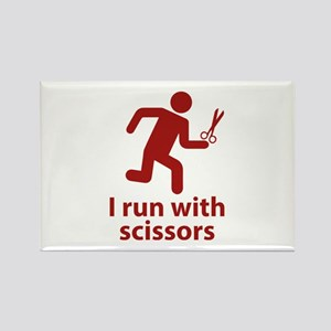I run with scissors Rectangle Magnet