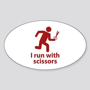 I run with scissors Sticker (Oval)