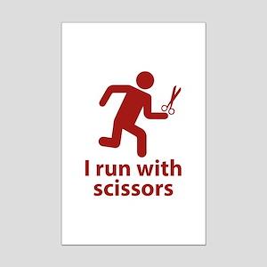 I run with scissors Mini Poster Print