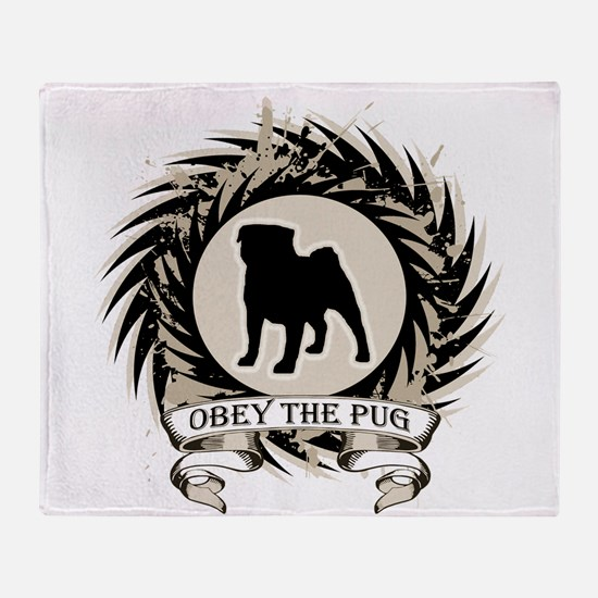 Obey The Pug Throw Blanket