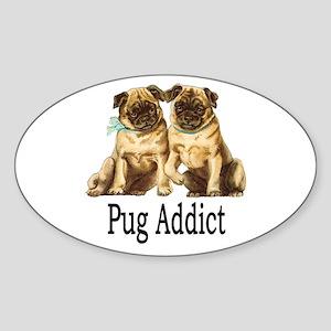 Pug Addict Sticker (Oval)