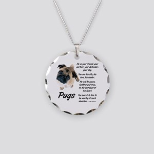 Pug Your Friend Necklace Circle Charm