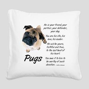 Pug Your Friend Square Canvas Pillow
