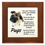 Pug lover Framed Tiles