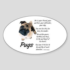 Pug Your Friend Sticker (Oval)