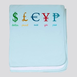 Currency Symbols baby blanket