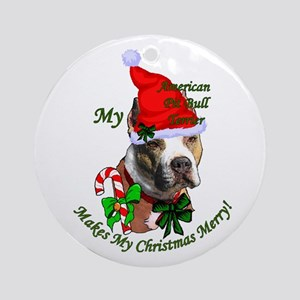 Pit Bull Christmas Round Ornament