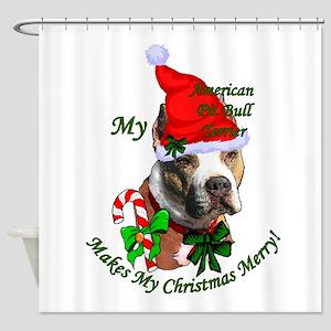 Pit Bull Christmas Shower Curtain