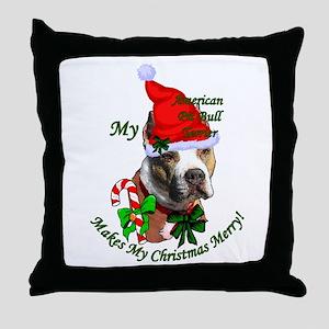 Pit Bull Christmas Throw Pillow