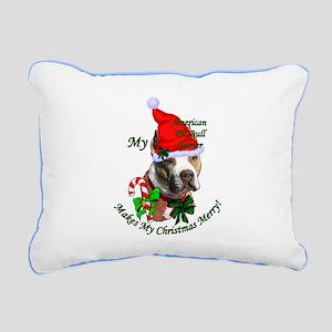 Pit Bull Christmas Rectangular Canvas Pillow