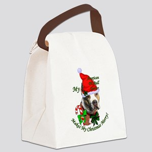Pit Bull Christmas Canvas Lunch Bag