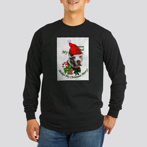 Pit Bull Christmas Long Sleeve Dark T-Shirt