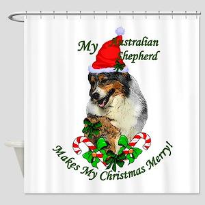 Australian Shepherd Christmas Shower Curtain