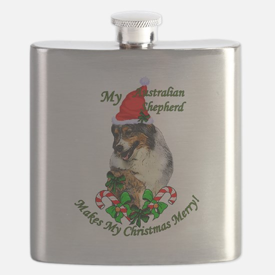 Australian Shepherd Christmas Flask