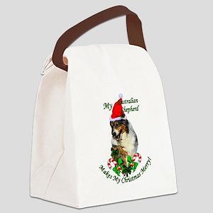 Australian Shepherd Christmas Canvas Lunch Bag