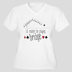 Playing Bridge Women's Plus Size V-Neck T-Shirt