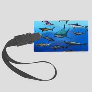 Shark Gathering Large Luggage Tag