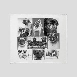 Vintage Pugs Throw Blanket