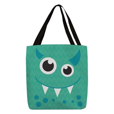 Cute Monster Polyester Tote Bag