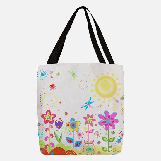 Cute Flowers Polyester Tote Bag