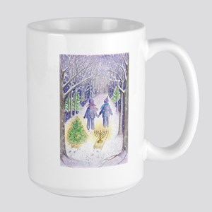 Chrismukkah Holiday Sleds Large Mug