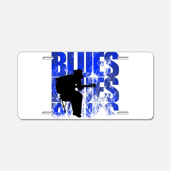 blues guitar Aluminum License Plate