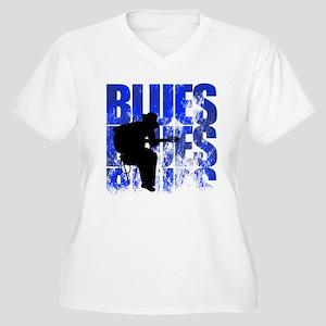 blues guitar Women's Plus Size V-Neck T-Shirt
