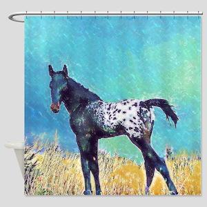 Appy Go Lucky Horse Shower Curtain