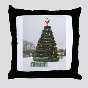 Lobster Trap & Bowie Christmas Tree Throw Pillow
