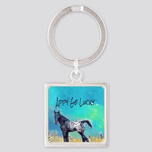 Appy Go Lucky Horse Square Keychain