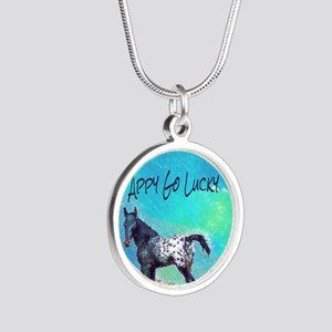 Appy Go Lucky Horse Silver Round Necklace