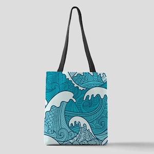 Ocean Waves Polyester Tote Bag