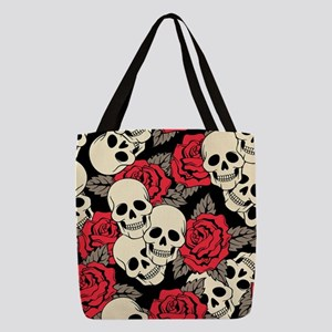 Flowers and Skulls Polyester Tote Bag