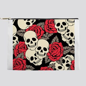 Flowers and Skulls Makeup Pouch