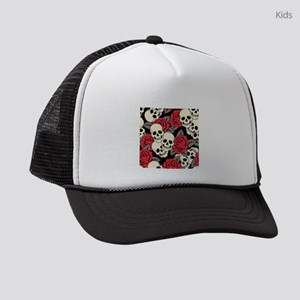 Flowers and Skulls Kids Trucker hat