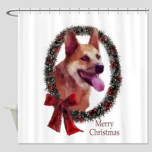 Australian Cattle Dog Christmas Shower Curtain